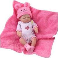 Boneca Reborn Laura Baby Ester Com Acessórios - Feminino-Rosa+Branco