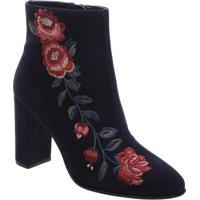 Bota Em Couro Com Detalhe Floral - Azul Marinho & Rosa