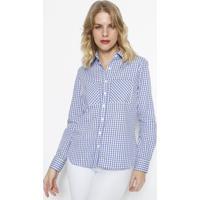 Camisa Xadrez Com Bolsos - Azul & Branca - Vip Reservip Reserva