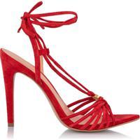 Luiza Barcelos Sandália Salto Alto Em Camurça - Vermelho