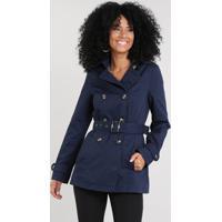 Casaco Trench Coat Feminino Com Bolsos Azul Marinho