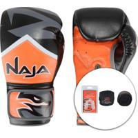 Kit De Boxe Naja: Bandagem + Protetor Bucal + Luvas De Boxe New Extreme 5V - 14 Oz - Adulto - Laranja/Preto