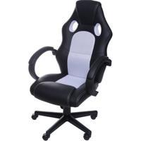 Cadeira Office Racer V16 Preta Com Detalhe Branco Base Nylon - 53472 - Sun House