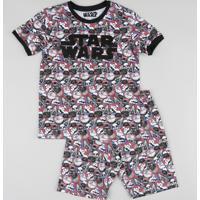 Pijama Infantil Estampado Star Wars Manga Curta Preto