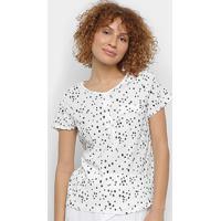 Blusa Mi Estrelas Botões Feminina - Feminino-Branco
