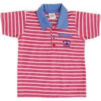 Camisa Polo Bebê Lápis De Cor Listrado Masculino - Masculino-Vermelho