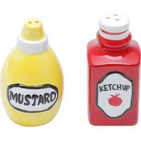 Conjunto De Saleiro E Pimenteiro Em Dolomita Ketchup E Mostarda 8141 Lyor