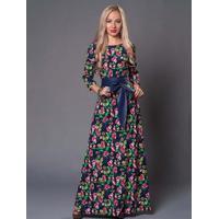 Vestido Longo Floral Com Laço - Azul Xg