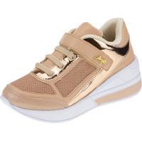 Tênis Sneaker Joys Shoes Flat Form Bege/Dourado