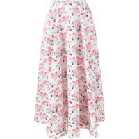 Emilia Wickstead Saia Midi Com Estampa Floral - Branco