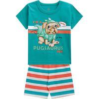 """Pijama """"I'M A Pugsaurus Rex""""- Verde & Laranja- Kids"""