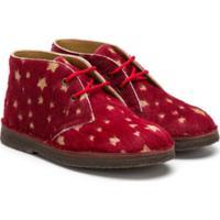 Pépé Kids Star Patterned Lace-Up Shoes - Vermelho