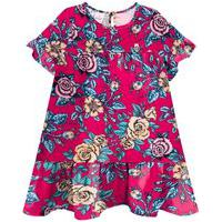 Vestido Infantil Abrange Floral Azul Rosa Abrange Casual Rosa