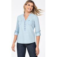 Blusa Jeans Feminina Decote V