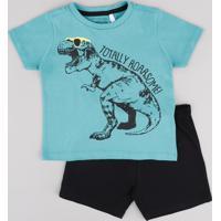 Conjunto Infantil De Camiseta Dinossauro Manga Curta Verde Água + Short Em Moletom Preto