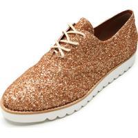 Oxford Flatform Dafiti Shoes Glitter Dourado