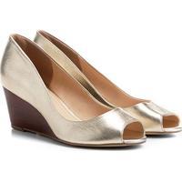 Peep Toe Couro Shoestock Anabela Fachete Feminino - Feminino