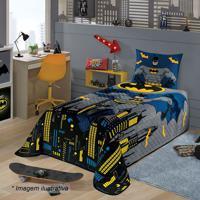 Colcha Do Batman® De Solteiro- Azul & Cinza- 150X210Lepper