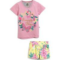 Conjunto 2Pçs Andritex Curto Menina Floral Rosa/Amarelo
