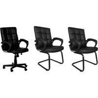 Conjunto Com 3 Cadeiras De Escritório Interlocutor Charles