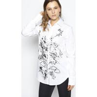 Camisa Buque Floral Texturizada - Branca & Pretale Lis Blanc
