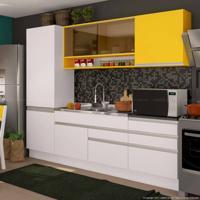 Cozinha Compacta 6 Portas E 5 Gavetas 100% Mdf Branco/Gold/Vidro Reflecta - Glamy