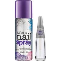 Esmalte Spray Impala Nail Spray Cor Roxo Com 50Ml + Base 2 Em 1 Com 7,5Ml