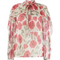 Red Valentino Poppy Print Silk Blouse - Neutro