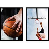 Quadro Oppen House 60X80Cm Esporte Duo Basquete Jogadores Moldura Preta Com Vidro
