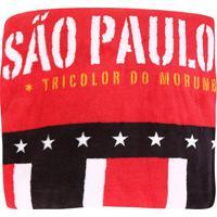 Manta São Paulo Juvenil Tricolor Soft Solteiro - Unissex-Vermelho