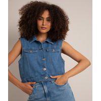 Colete Jeans Cropped Azul Médio
