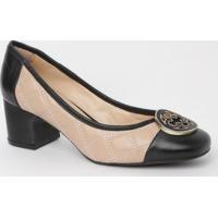 Sapato Em Couro Matelassê- Nude & Preto- Salto: 5,5Ccapodarte