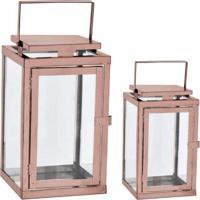 Kit Lanterna Mart Em Vidro E Aço Inoxidável Cobre 2Pçs