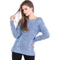 Blusa Tricot Malhas Carlan Trançada Decote Canoa Feminina - Feminino-Azul