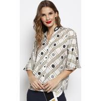 Camisa Com Botãµes & Tag- Off White & Verde Claro- Foforum