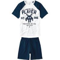 Pijama Azul Marinho Infantil Curto Estampado