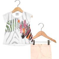 Conjunto 2Pçs Curto Infantil Rovitex Zebra Branco/Rosa