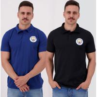 Kit De 2 Polos Manchester City I Azul E Preta