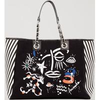 Shopping Bag Lona Silk Art Preto