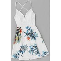 Vestido Branco Floral Blusa De Renda