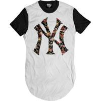 Camiseta Skull Clothing Longline Ny Floral Masculina - Masculino-Branco+Preto