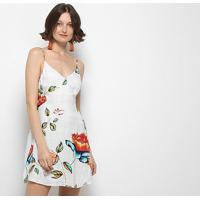 Vestido Lez A Lez Curto Estampado Decote Costas Botões Amarração - Feminino-Floral