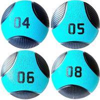 Kit 4 Medicine Ball Liveup Pro 4 5 6 E 8 Kg Bola De Peso Treino Funcional - Unissex