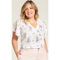 Blusa Plus Size Feminina Creme Floral