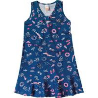 Vestido Mergulhos & Peixinhos- Azul Marinho & Rosa- Marisol