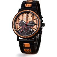 Relógio Masculino De Madeira Dododeer-C04 - Marrom Claro