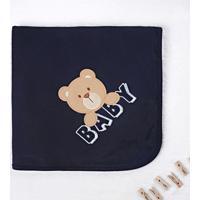 Manta Bebê Ursinho Baby Azul Marinho 80Cm Grão De Gente Azul
