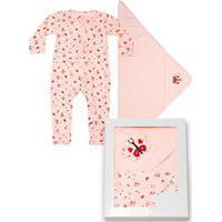 Saída Maternidade Nini&Bambini 2 Peças Macacão Com Zíper E Manta Borboleta Rosa