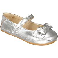 Sapato Boneca Em Couro Metalizado- Prateada- Kidskimey