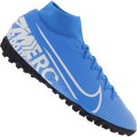 Chuteira Society Nike Mercurial Superfly 7 Academy Tf - Adulto - Azul Cla/Branco